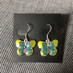 Jewelry - 5 for $25$ Green Butterfly French Wire Earrings